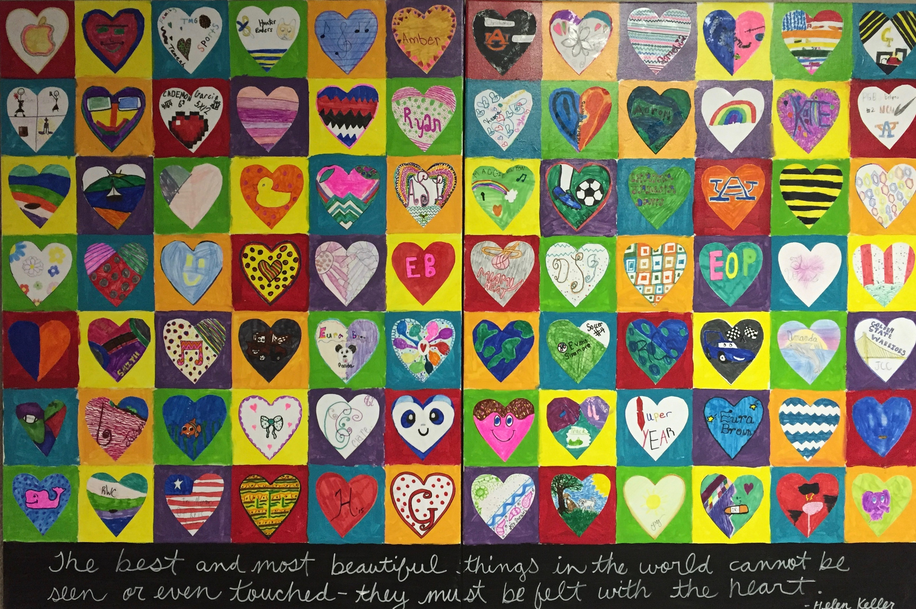 The best and most beautiful things in the world cannot be seen or even touched-they must be felt with the heart. Artwork made by students